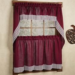 burgundy country style kitchen curtains with white lace accent