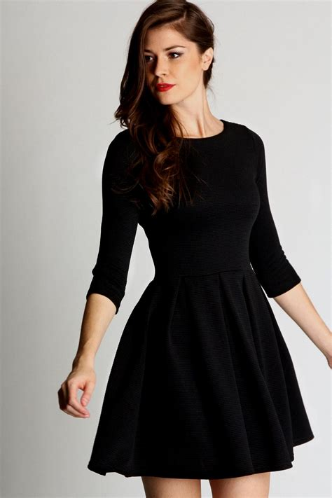 lace panel sleeve midi dress black skater dress with 3 4 sleeves naf dresses