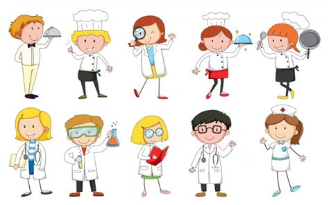 People In Uniform Doing Different Occupations Vector