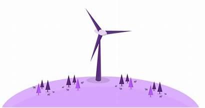Wind Farm Palm Energy Windmill Moving Animation