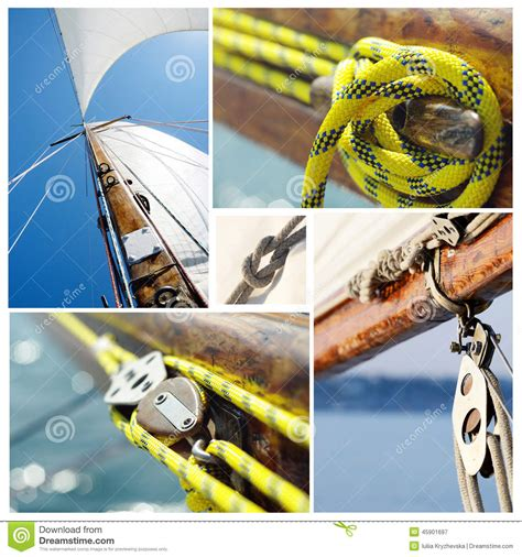 Old Boat Equipment collage of old sailing boat equipment vintage style