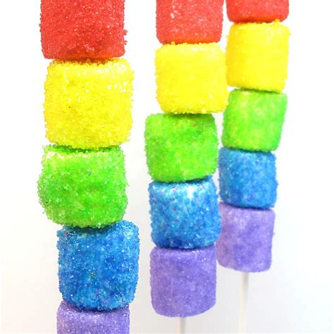 how to color marshmallows sparkly rainbow marshmallow kebobs the decorated cookie