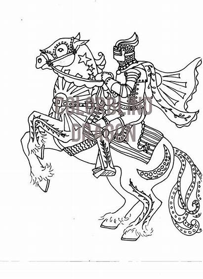 Coloring Horse Pages Knight Saddle Armor Medieval