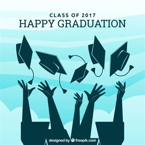 Graduate Background Graduation Background With Graduate Silhouettes Vector