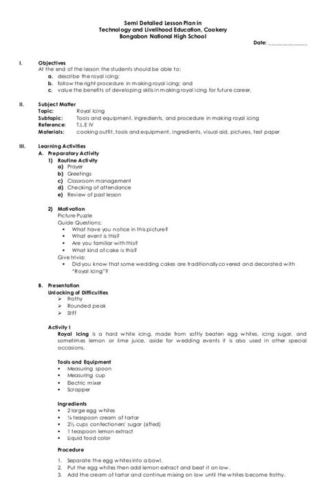semi detailed lesson plan  technology  livelihood