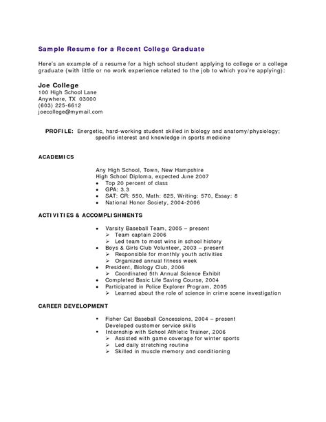 Student Resume No Experience by High School Student Resume With No Work Experience Resume