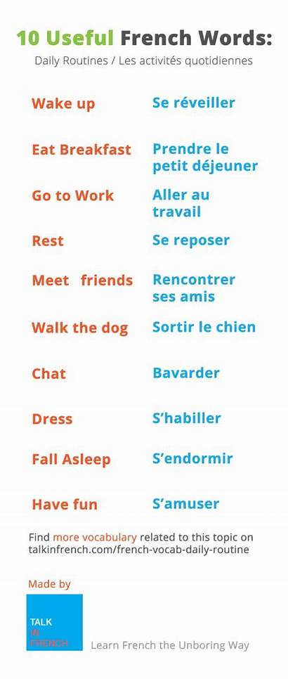 French Words Learning Daily Routine Phrases Language