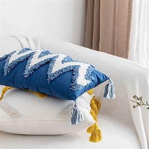 Throw, Pillow, Covers, Boho, Modern, Tribal, Decoration, Blue, Tufted, Fringe, Tasse, G0c7