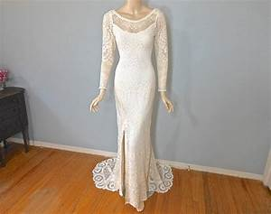 cream lace backless long sleeve bohemian wedding dress With simple cream wedding dresses