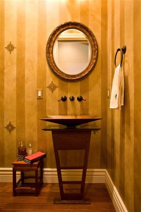 powder room  gold paint  jewels  metal pedestal