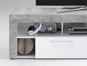 Tv Lowboard Beton : tv lowboard tv board multimedia lowboard in beton dekor und abs in wei mit 5 f chern und 2 ~ Indierocktalk.com Haus und Dekorationen