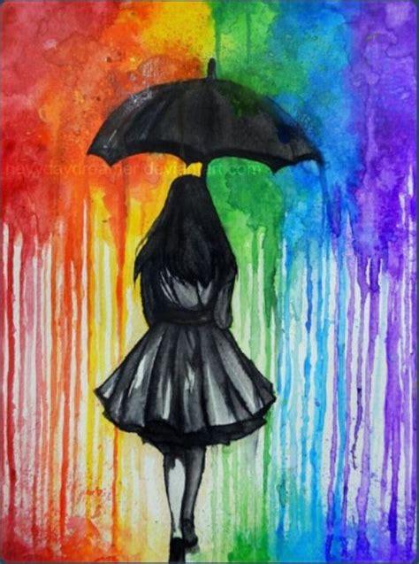 tumblr watercolour art girl rainbow  style