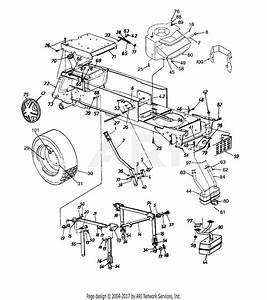 Mtd 14aw834h401  1997  Parts Diagram For Frame Assembly  Wheel  Rear  Muffler  Deck Lift  U0026 Hanger
