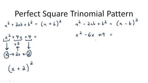 factor perfect square trinomials video algebra ck