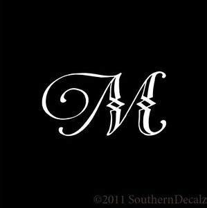 initialmfonts monogram script font initial letter  decal sticker  colors    script