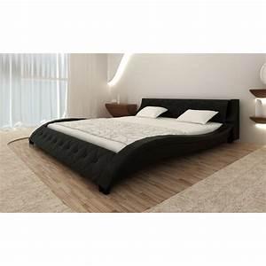 Lit En 180 : la boutique en ligne lit en cuir 180 x 200 cm noir avec matelas ~ Teatrodelosmanantiales.com Idées de Décoration