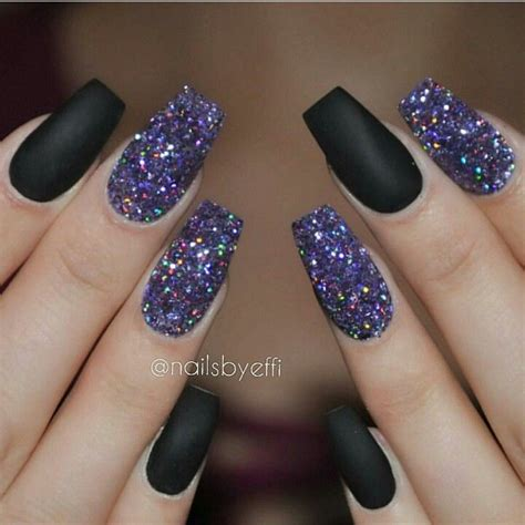 flat black acrylic nails  glitter party nails nails