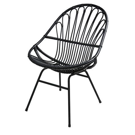 fauteuil en rotin et m 233 tal noir p 233 tunia maisons du monde