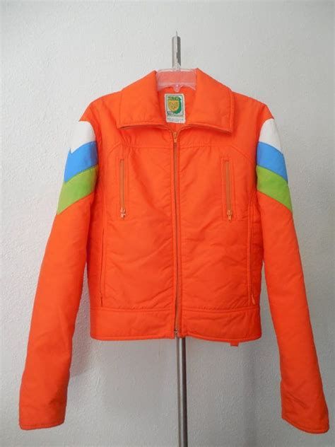 Kick Ass Retro 1970s Neon Ski Jacket Mens Large Orange