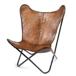 designer ledersessel butterfly chair in brown leather