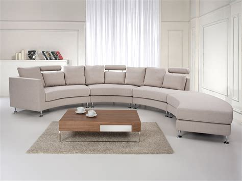 Fabric Curved Sectional Sofa  Beige Rotunde