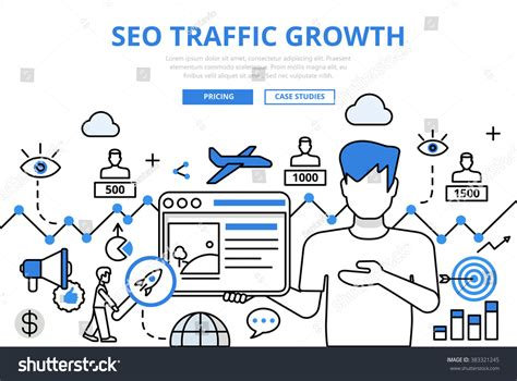 Seo Traffic by Seo Traffic Growth Concept Flat Line Stock Vector