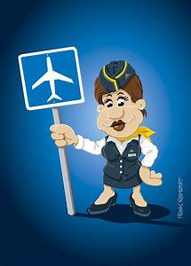 Flight Attendant Cartoon Woman Airport Sign Digital Art by