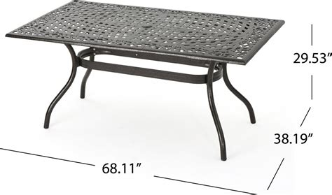 odena cast aluminum 7 outdoor dining set with