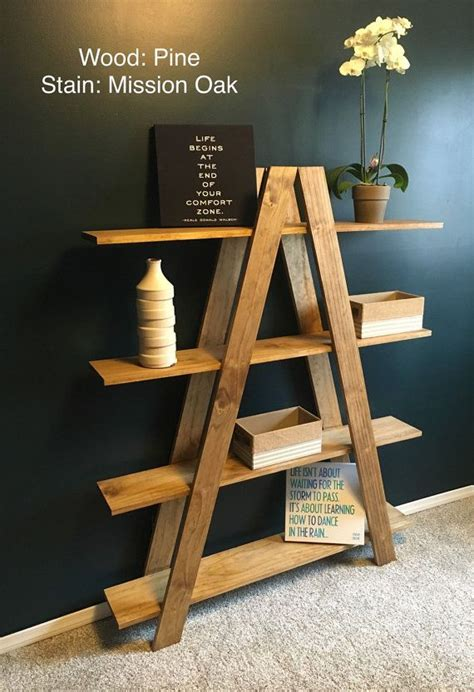 solid oak ladder shelf  shipping handmade oak