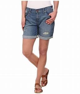 Calvin klein jeans Destroyed Boyfriend Shorts in Blue | Lyst