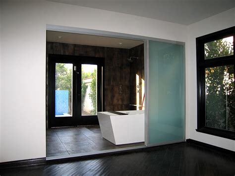 Frosted Glass Sliding Doors With Silver Frame Finish