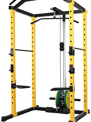 hulkfit multi function power cage rack crossfit attachments  hooks dip bars weight plate