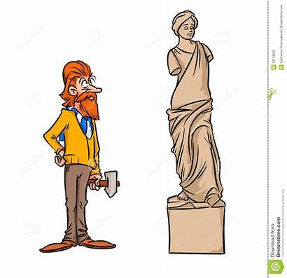 Statue Venus Milo Sculpteur Parodie Scultore Sculptor