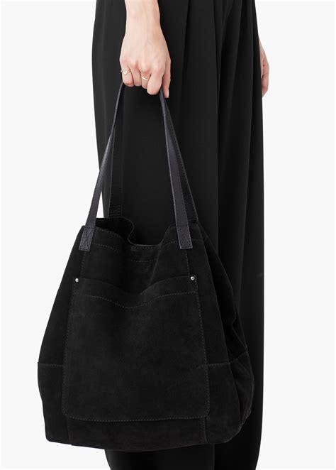 mango suede shopper bag  black lyst
