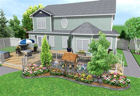 garden landscaping ideas  higher concrete deck