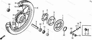 Honda Motorcycle 1980 Oem Parts Diagram For Rear Wheel