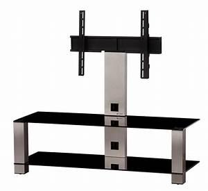 Meuble Avec Support Tv : meuble tv sonorous pl2400 b inx verre noir et inox avec ~ Dailycaller-alerts.com Idées de Décoration
