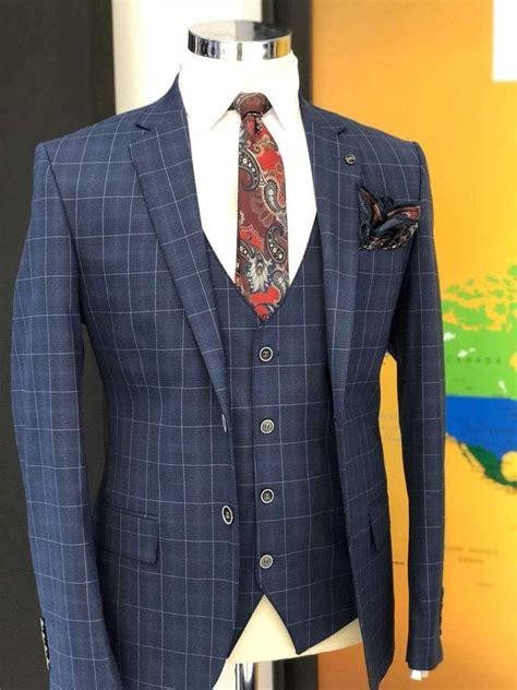 If your suit is navy blue, go with a dark brown or black shoe. Slim-Fit Plaid Suit Vest Navy-Blue   Mens fashion suits ...