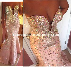 china crystal prom party gown vestidos mermaid evening With robe sirene strass
