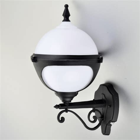 mystic white globe wall light with photocell dusk to dawn