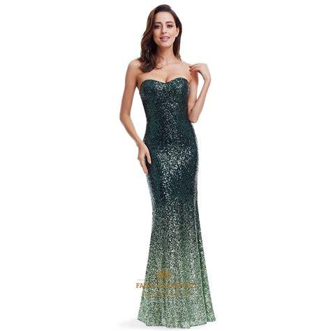 Green Strapless Sequin Mermaid Floor Length Evening Dress