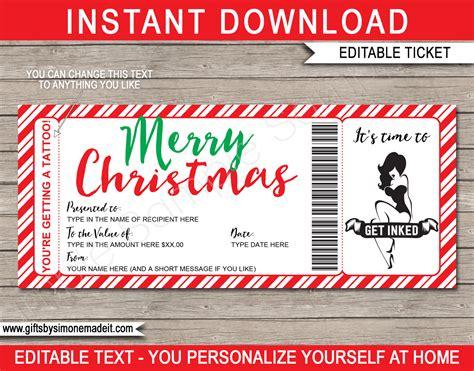 christmas tattoo gift certificate template diy printable