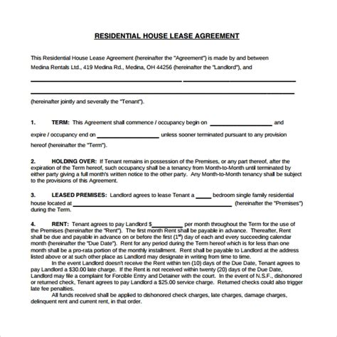 sample house lease agreements sample templates