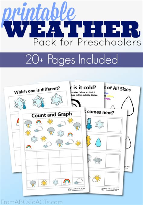 printable preschool weather activity pack from abcs to acts 434 | Weather Mini Pack