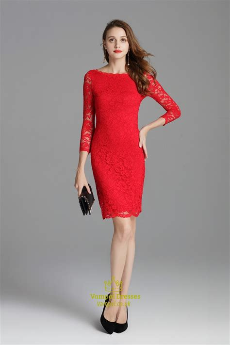 classic red lace overlay sheath short cocktail dress