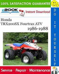 Honda Trx200sx Fourtrax Atv Service Repair Manual 1986