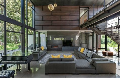 modern house industrial modern house boasts a serene lakeside setting Industrial
