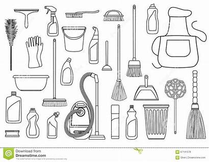 Cleaning Supplies Outline Vector Tools