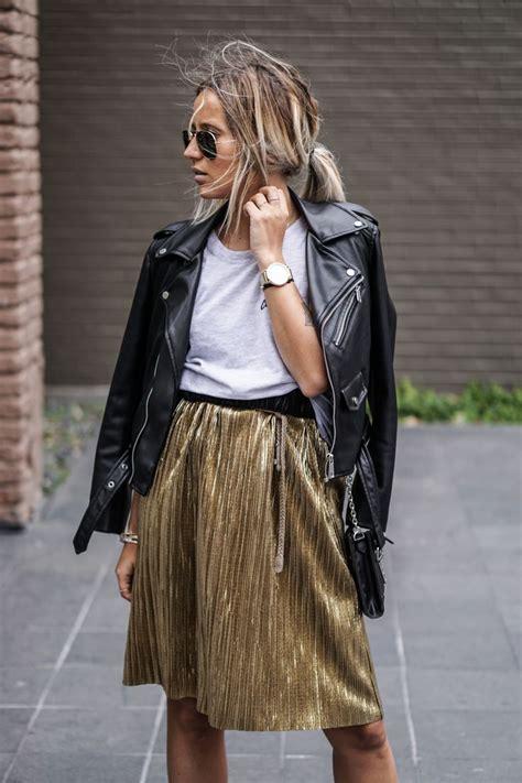 metallic skirt ideas  pinterest gold pleated