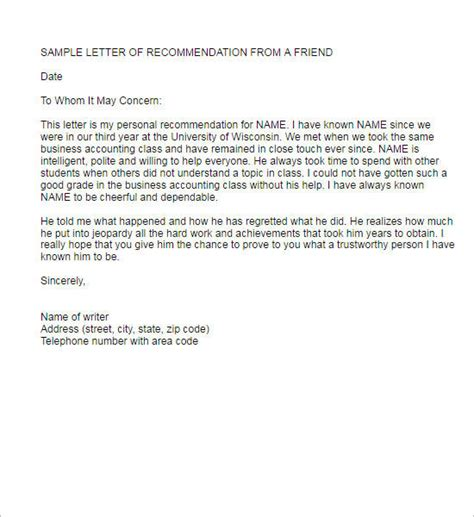 recommendation letter template free word pdf format